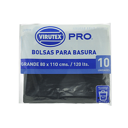 Bolsas de Basura Plana 80x110 CM 10 Unidades - Virutex Pro.