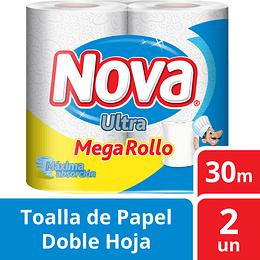 Toallas de Papel Nova Ultra D/H Megarollo x2.