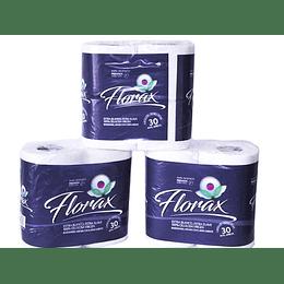 Papel Higienico Florax 30mts 12 Paquetes de 4 rollos