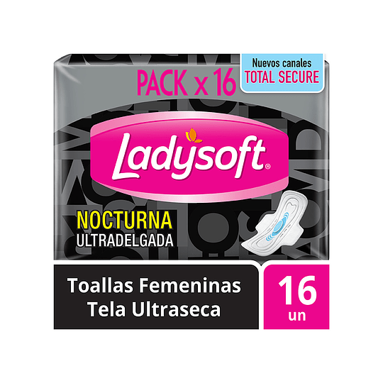 Toallas Femeninas Ultra Delgada Ladysoft Tela Ultraseca con Alas Nocturna 16 Unidades.