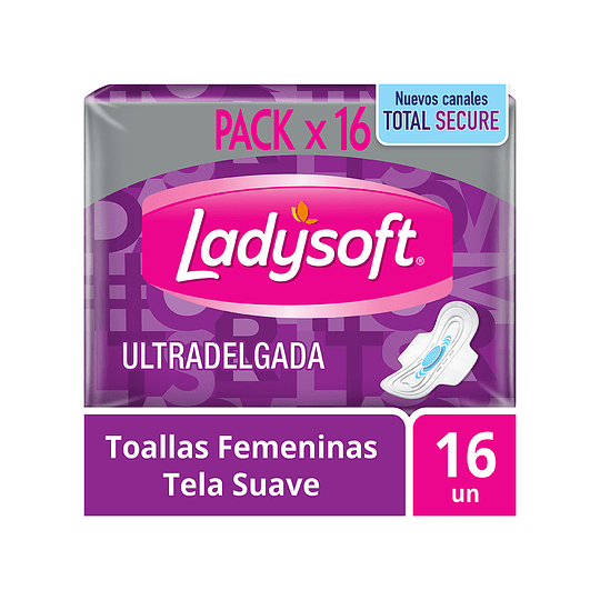 Toallas Femeninas Ladysoft Ultra Delgada Tela Suave 16 Unidades