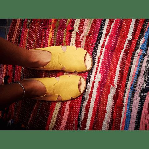Sandalia Mujer Cuero Halcon Amarillo  (36, 37, 38, 39, 40)