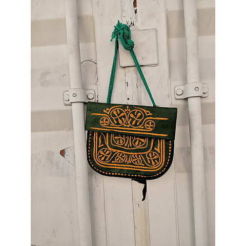 Embroidered Green Moroccan Purse / Shoulder Bag