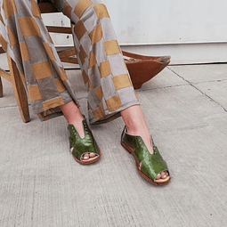 Women Leather Sandal Bandurria Verde