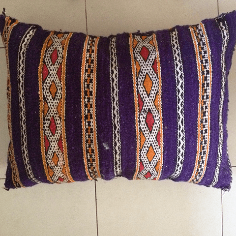 Purple Moroccan Wool Cushion