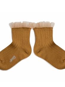Calcetines cortos tul, Margaux, mostaza