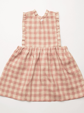Marlow Pinafore - Rose Check Linen