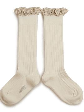Apolline - Calcetines hasta la rodilla con canalé y volante vichy - Cordero suave