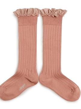 Apolline - Calcetines hasta la rodilla con canalé y volante vichy - Madera de rosa