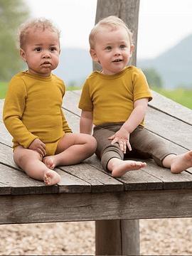 Camiseta-polera lana Merino y Seda, saffron