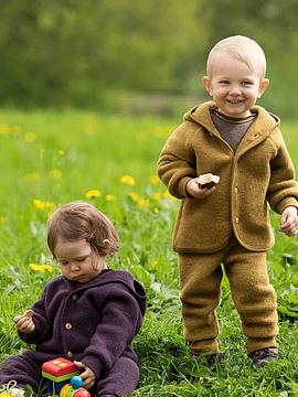 Pantalones bebé con pretina, Merino wool fleece, walnuss