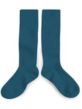 High knee sock, turquoise