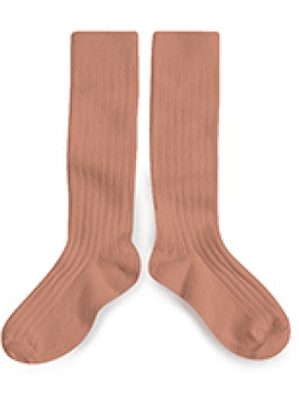 High knee sock, rosewood
