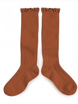 High sock, terracotta