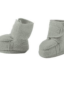 Boiled Merino Wool Bootees, Grey
