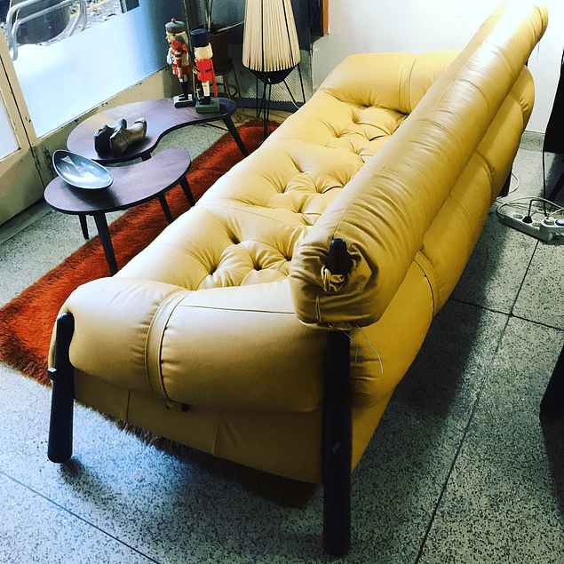 LEATHER 3-SEAT SOFA BY PERCIVAL LAFER, BRAZIL 1960'S