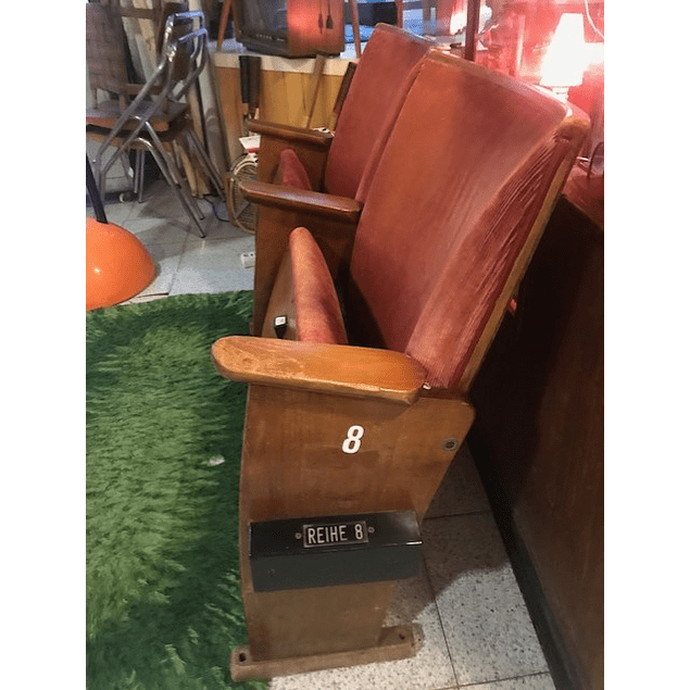 2  cinema chairs, in wood 1960