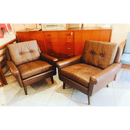 2 leather Loungechair fron the 50s