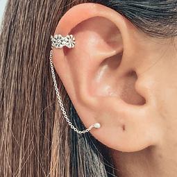 Ear Cuff Flores Summer Vibes con Cadena