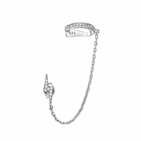 Earcuff shine con cadena y aro rayo