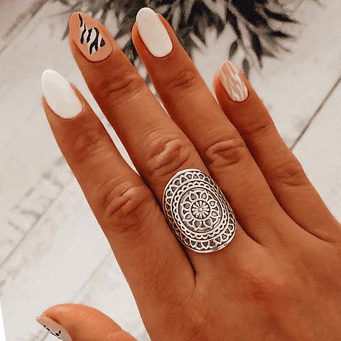 Anillo Mándala flor de la vida (Hand made)