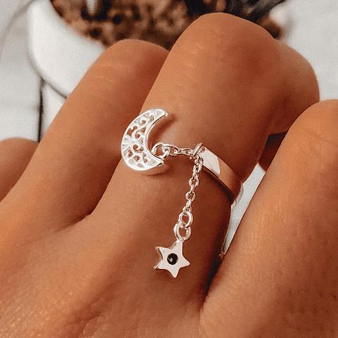 Anillo Luna Protectora con Cadena y Estrella minimal