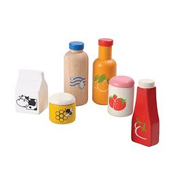 Alimentos y bebida madera natural, 6pz