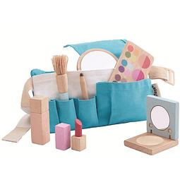 Set de maquillaje madera + bolso tela