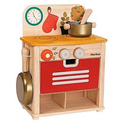 Cocina de madera con accesorios