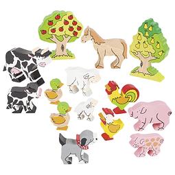 12 animales de la granja en madera