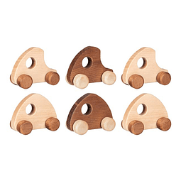 Pack de 6 vehículos de madera nature