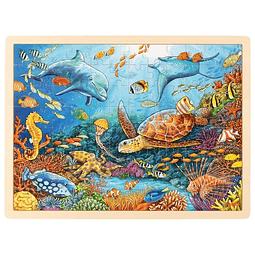 Puzle de madera con base 96pz diseño barrera de coral