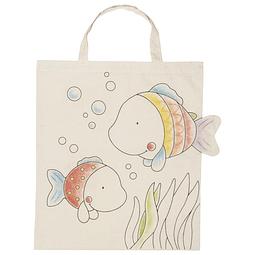 Bolsa de tela con asa para colorear 41,5x36cm, diseño peces