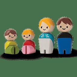 SET 4 MUÑECOS MADERA FAMILIA EUROPEA