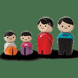SET 4 MUÑECOS MADERA FAMILIA ASIÁTICA