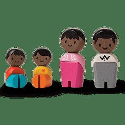 SET 4 MUÑECOS MADERA FAMILIA AFROAMERICANA