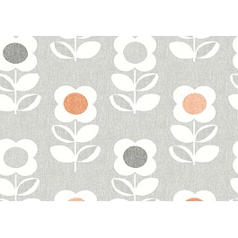 Retro Flower Grey and Orange