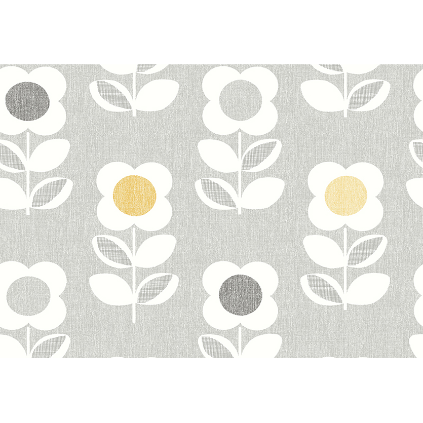 Retro Flower Grey and Yellow