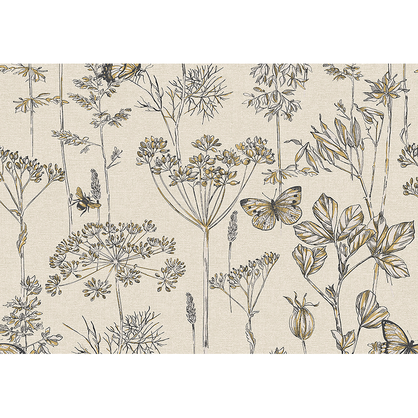 Charcoal & Ocher Floral Meadow