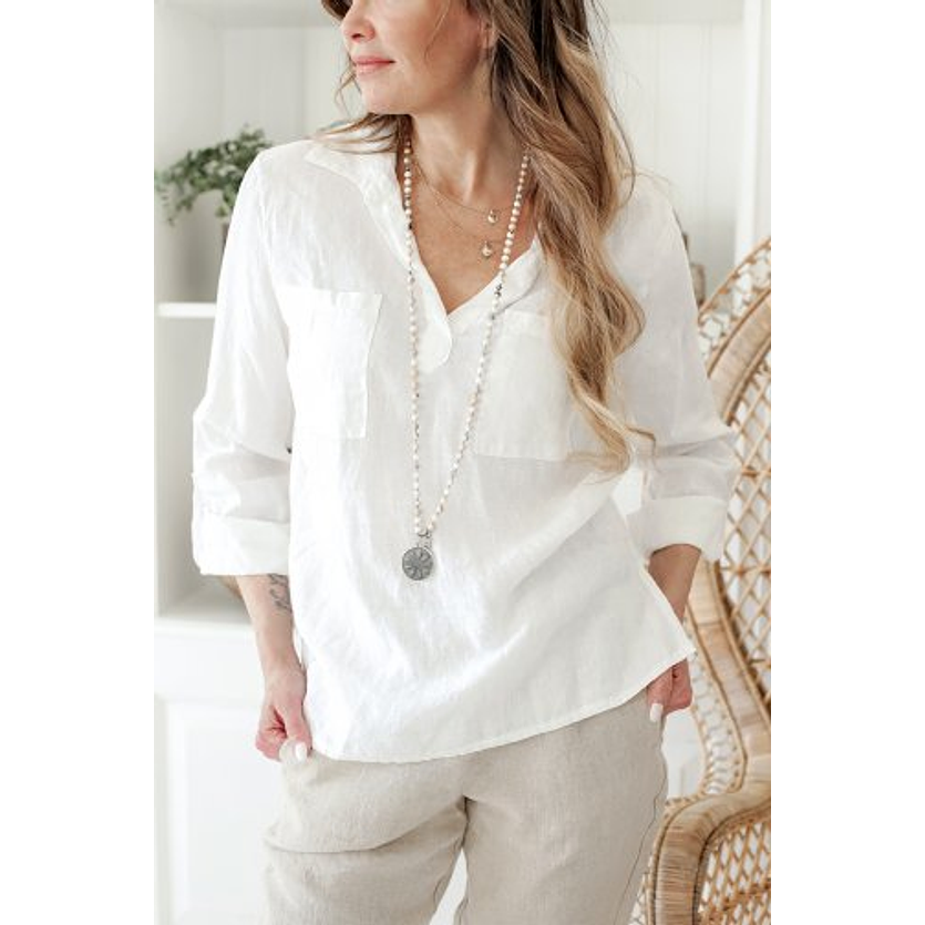 Shaggy White Blouse