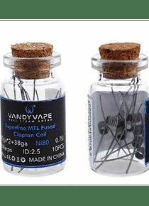 Superfine MTL Fused clapton coil 10pcs Vandy Vape Ni80 (30gax2+38ga) 0.7Ω