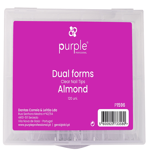 Dual Forms Clear Nail Tips - Almond 120 uni.