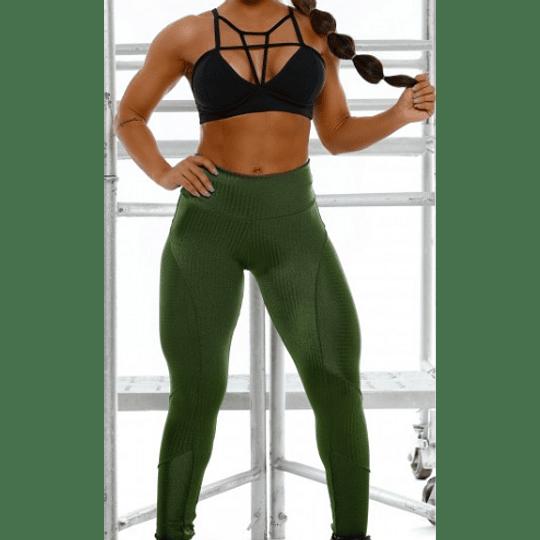 Moda Brasil Calza verde de tela texturizada - Image 1