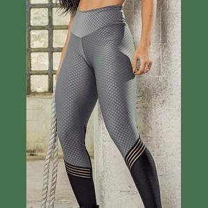 Moda Brasil Calza en tela con texturizada, gris con negro.