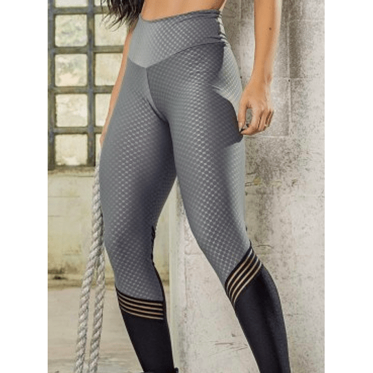 Moda Brasil Calza en tela con texturizada, gris con negro.  - Image 1