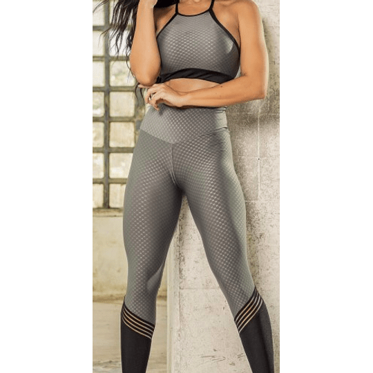 Moda Brasil Calza en tela con texturizada, gris con negro.  - Image 3