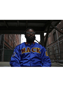 #MackHasMoreFun Satin Bomber Jacket (Blue)