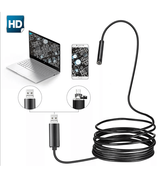 Endoscopio 2 en 1 de 7mm, Endoscopio USB 480P HD