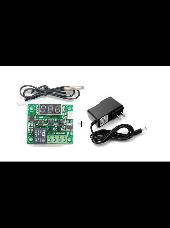 TERMOSTATO DIGITAL W1209 CONTROL TEMPERATURA + FUENTE ALIMENTACION 12V 1A WEI-1210
