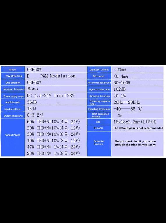 AMPLIFICADOR DIGITAL 60W OEP60W